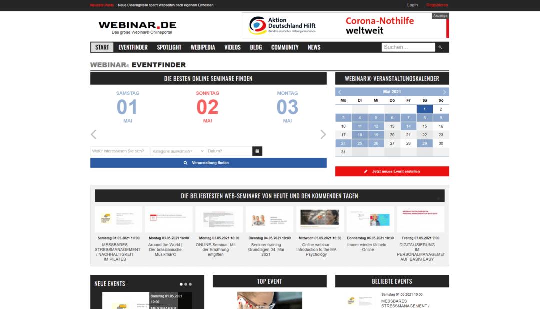 webinar.de das große webinar onlineportal, projekt, webdesign idunatek in frankfurt, idstein, wiesbaden, mainz